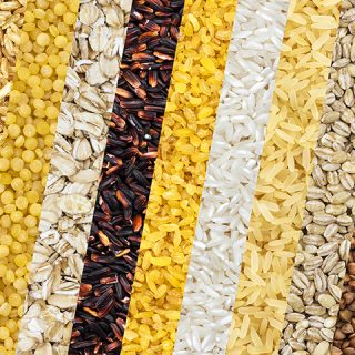 Collection of different cereals, grains, rice and beans backgrounds