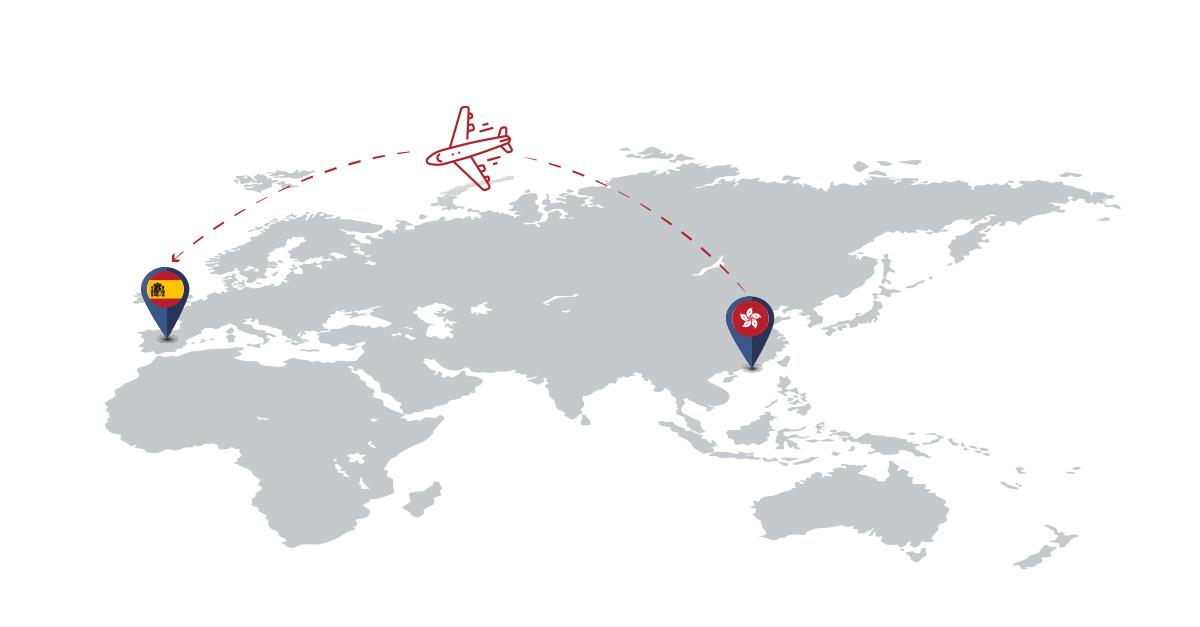 transporte aéreo directo Hong Kong - Madrid (España)